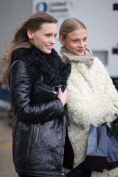 See the best NYFW street style looks here: Mila Krasnoiarova and Anna Selezneva