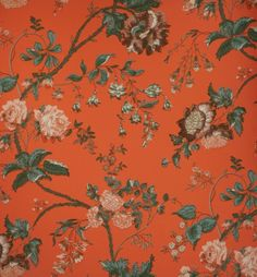 1950s Schumacher wallpaper / peonies and roses / red on Etsy, $6.99