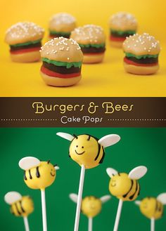 Burgers and Bees. I can turn the burgers into crabby patties for Sponge Bob party