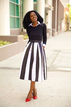 Long Sleeve Tee + Button-Up Shirt + Striped Midi Skirt
