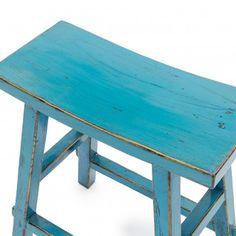 Turquoise Wooden Rectangular Stool