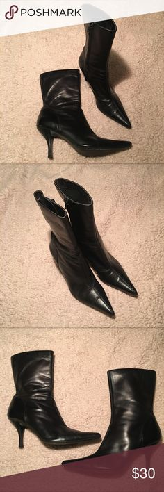 """Vintage Steve Madden Black Leather Boots Steve Madden black leather pointed toe boots. They are in very good used condition. They zip on inside and have a very pointed toe as seen in pics. They are approx 11 1/2"""" tall from bottom of heel to top of boot and heel is approx 4 1/8"""" Steve Madden Shoes Heeled Boots"""