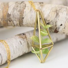 Craft It - A Brass Himmeli Succulent Necklace - Make your own succulent or air plant planter gold necklace - inexpensive gift or craft