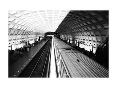 """""""DC subway fast track"""" - Art Print by van tsao in beautiful frame options and a variety of sizes. White Art, Black And White, Aesthetic Look, Linear Pattern, Dupont Circle, Holiday Photo Cards, Canvas Frame, Wood Canvas, Canvas Art Prints"""