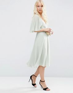 Image 4 of ASOS Wrap Front Midi Dress with Angel Sleeve