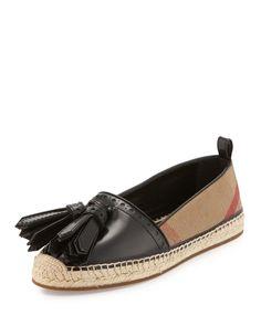 Hodgeson Tassel Check Espadrille Flat, Black, Women's, Size: 8B/38EU - Burberry