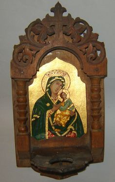 aNTIQUE Old Hand painted ICON VIRGIN Mary JESUS Iconostasis Wood carving Glass by gatonegro1 on Etsy