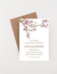 Japanese Cherry Blossom Tree Save The Date, Watercolor Sakura, Bridal Shower, Wedding Invitation