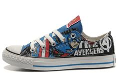 3f654fb8c54488 Converse Captain America The Avengers Edition Printed Blue Black Low Tops  Canvas Shoes Marvel Shoes