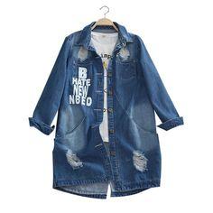 Плюс Размеры 6xl 2018 дамы Джинсовые куртки весна Turn Подпушка воротник отверстие с длинным рукавом Повседневное джинсовая куртка Для женщин Джинсы для женщин пальто верхняя одежда купить на AliExpress