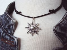 Sun Necklace  Sun Choker  Black Choker  Choker by GrungeForever https://www.etsy.com/uk/listing/213840938/sun-necklace-sun-choker-black-choker