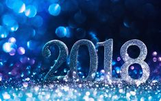 Download wallpapers Happy New Year 2018, 4k, glare, Christmas 2018, New Year 2018, blue background, xmas, Christmas