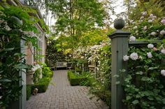 Pretty side yard with a brick path, boxwood hedges and climbing roses