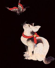 Katsushika Hokusai - Japanese Printmaking - Estampe - Cat and butterfly