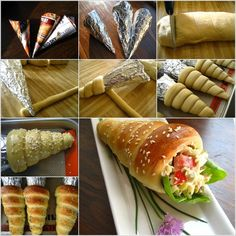 How to Make Cute Bread Cones! It is so creative to make paper cones and then wrap them completely with foil to make the molds to make bread cones. You can enjoy them plain or fill with salad, it looks so impressive, right? Bread Cones, Pizza Cones, Easter Bread Recipe, Comida Diy, Good Food, Yummy Food, Yummy Yummy, Delish, Cannoli