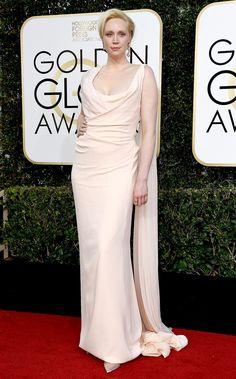 Gwendoline Christie Dress: Vivienne Westwood Jessica Chastain, Emily Ratajkowski, Lily Collins, Emma Stone, Glamour, Pantone, Golden Globe Awards 2017, Gwendolyn Christie, Toms