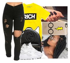 """"""""""" by oh-thatasia ❤ liked on Polyvore featuring Casetify, Gucci and NIKE"""
