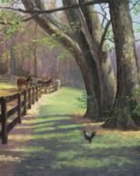Chicken and horses painted en plein air by North Carolina artist, Jeremy Sams.