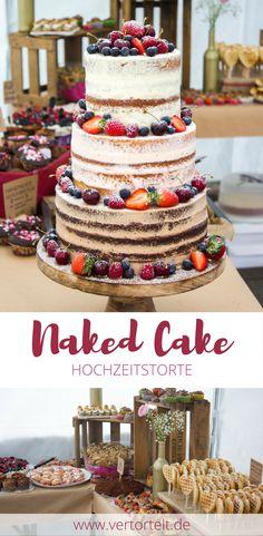 Ein dreistöckiger Naked Cake mit unterschiedlichen Tortenebenen: Schokolade, Erdbeere und Vanille