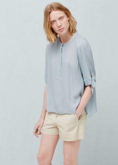 Струящаяся фактурная блузка   MANGO МАНГО