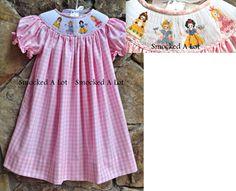 Smocked Princess Dress- Pink Gingham- Belle, Cinderella, Snow White, Aurora- Preorder ships beginning of April
