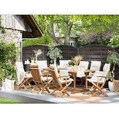 Beliani 8 Seater Garden Dining Set with Grey Cushions MAUI Garden Chair Cushions, Wooden Garden Chairs, Garden Table And Chairs, Garden Furniture, Outdoor Furniture Sets, Garden Dining Set, Outdoor Dining Set, Outdoor Seating, Outdoor Chairs