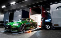 Download wallpapers Audi RS5 Coupe, ABT, 2018, RS5-R, green sports coupe, racing car, green RS5, black wheels, tuning RS5, Audi