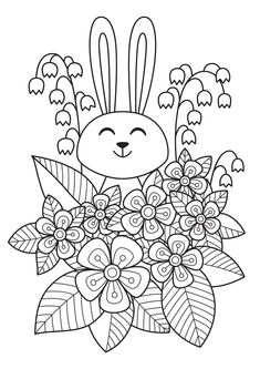 Coloring Pages of Flowers — Happies Wonderful Flowers, Flowers For You, Iris Flowers, Pretty Flowers, Detailed Coloring Pages, Flower Coloring Pages, Free Coloring Pages, Coloring Books, Cute Easter Bunny