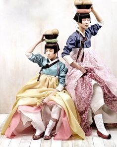 Korean traditional hanbok dresses with a modern twist. Oh how I crave these. I'm half Korean and as a child I had two different hanboks.