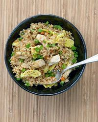 The seductively savory combination of soy sauce, sake, butter, and garlic seasons this chicken-and-egg fried rice. It& a complete meal that the whole family will devour. Day-old rice works best in this recipe, so plan ahead. Kraft Recipes, Rice Recipes, Asian Recipes, Dinner Recipes, Ethnic Recipes, Dinner Ideas, Risotto Recipes, Copycat Recipes, Bread Recipes