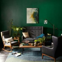 Derbyshire (SW 6741) creates the perfect backdrop for these mid-century inspired pieces from West Elm.