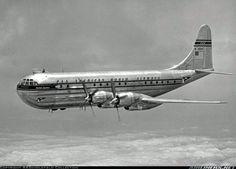 "Pan American World Airways - PAA Boeing 377 Stratocruiser  ""Clipper America"" in flight over Washington in 1948"