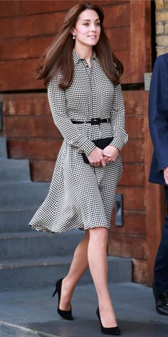 Kate Middleton's Most Memorable Outfits Ever! - September 17, 2015 - from InStyle.com - Freud Centre in north London, where she looked perfectly polished in a black-and-white houndstooth Ralph Lauren shirtdress, which she cinched at the waist with a black belt and paired with black pumps and a small black clutch. The princess also debuted her new bangs.