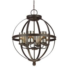 This single tier six-light chandelier has an autumn bronze finish that is complemented well by its mercury glass shades. Known for displaying class, the Sfera collection features high quality fixtures that are sure to add a spark of style to any home.