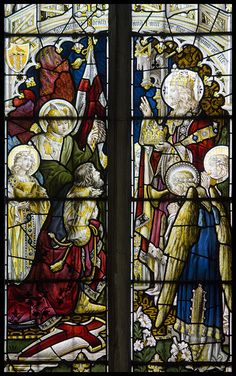 St George receives the crown of eternal Life by Lawrence OP, via Flickr (This window which shows the saint receiving the martyr's crown of victory from Christ, the King of Martyrs, is in the parish church of Stratford-upon-Avon. Incidentally, Shakespeare, who is buried in this church, died today in April 1616).