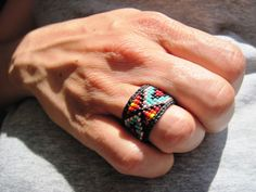 Native American Huichol Style Colorful Beaded Rings - YOUR CHOICE Custom Sizing. $26.00, via Etsy.