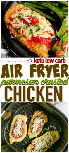 Keto Parmesan Crusted Chicken- If you are looking for the perfect low carb main . Keto Parmesan Crusted Chicken- If you are looking for the perfect low carb main dish or keto chicken recipe you will love our Air Fryer Parmesan Crusted Chicken. Low Carb Chicken Parmesan, Parmesan Crusted Chicken, Low Carb Chicken Recipes, Low Carb Recipes, Healthy Recipes, Keto Chicken, Easy Recipes, Air Fryer Recipes Low Carb, Chicken Legs