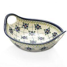 "457-263 - Polish Stoneware Choice of Pattern 9.75"" Handmade & Hand-Painted Handled Bowl"