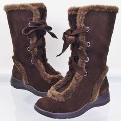 9694af3579d Aerosoles Squishing Trip Snow Boots Dark Brown Suede Faux Fur Womens Sz 6.5   Aerosoles  SnowWinterBoots  AprsSki