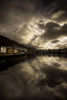 Bergen, Norway's Second City on a dark, cloudy day