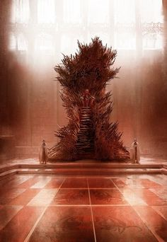 """""""this iron throne is massive. ugly. asymmetric. it's a throne made by blacksmiths hammering together half-melted, broken, twisted swords, wrenched from the hands of dead men or yielded up by defeated foes… a symbol of conquest… it has the steps i describe, and the height. from on top, the king dominates the throne room. and there are thousands of swords in it, not just a few. this iron throne is scary. and not at all a comfortable seat, just as aegon intended.""""  -grrm"""