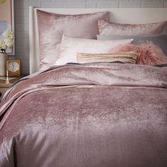 Washed Cotton Luster Velvet Duvet Cover + Shams - Dusty Blush | west elm