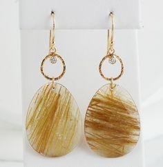 Rutilated Quartz Earrings   Pave Fine Jewelry Design