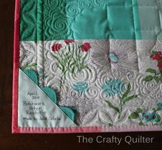 Quilt Label Love the look and placement