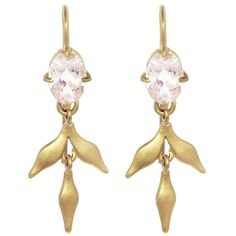 Cathy Waterman Morganite Lyrical Wheat Earrings ($1,840) ❤ liked on Polyvore featuring jewelry, earrings, gold, earring jewelry, handcrafted jewelry, hand crafted jewelry, statement earrings and handcrafted earrings