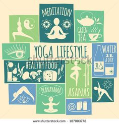 yoga lifestyle Icons set - stock vector