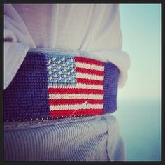 American Flag Needlepoint Belts.