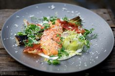 Quick Smoked Sea Trout with Leeks Vinaigrette, Crispy Air-dried Ham and Horseradish Cream