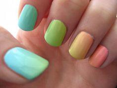 ombré rainbow nails.