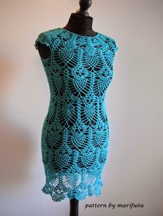 Free crochet patterns and video tutorials: How to crochet pineapple dress tunic with owls free pattern tutorial by marifu6a